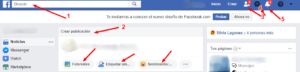 menu arriba facebook
