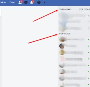 contactos y paginas facebook
