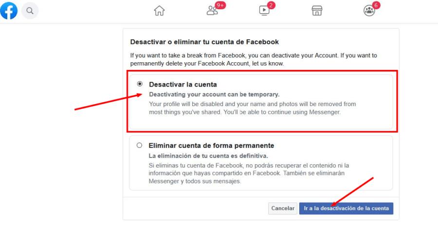 apartado para desactivar la cuenta de facebook temporalmente