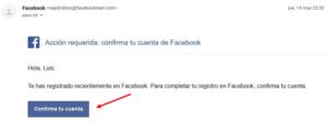 confirmar nueva cuenta de fb por email