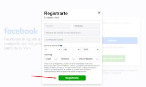 registrar nueva cuenta de facebook