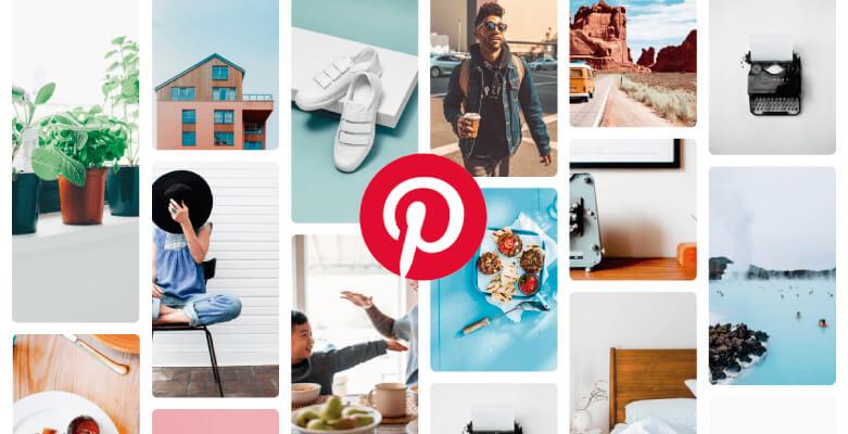 Pin de la red social con varias imágenes y un simbolo